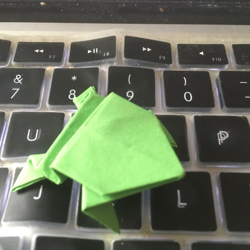 Leap 🐸 #mbfeb – Origami frog on MacBook Pro keyboard